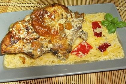 Mozzarella - Hähnchen in Basilikum - Sahnesauce 51