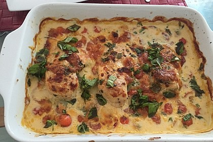 Mozzarella - Hähnchen in Basilikum - Sahnesauce 30
