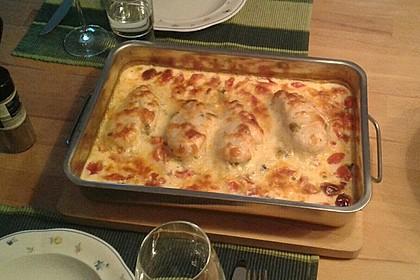 Mozzarella - Hähnchen in Basilikum - Sahnesauce 184