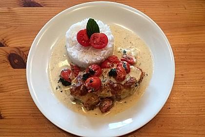 Mozzarella - Hähnchen in Basilikum - Sahnesauce 5