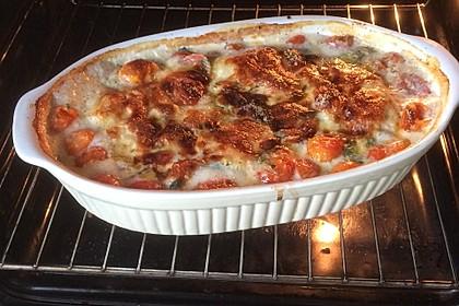 Mozzarella - Hähnchen in Basilikum - Sahnesauce 90