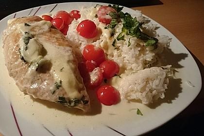 Mozzarella - Hähnchen in Basilikum - Sahnesauce 31