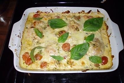 Mozzarella - Hähnchen in Basilikum - Sahnesauce 85