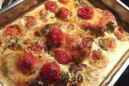 Mozzarella - Hähnchen in Basilikum - Sahnesauce 150