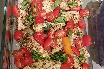 Mozzarella - Hähnchen in Basilikum - Sahnesauce 338