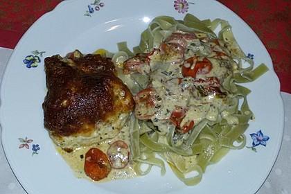 Mozzarella - Hähnchen in Basilikum - Sahnesauce 123