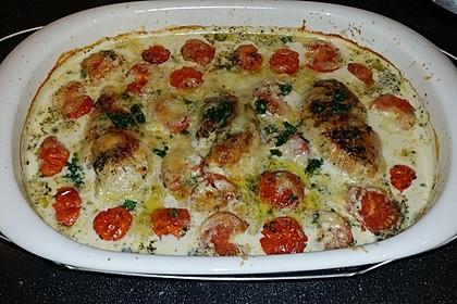 Mozzarella - Hähnchen in Basilikum - Sahnesauce 71