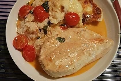 Mozzarella - Hähnchen in Basilikum - Sahnesauce 65