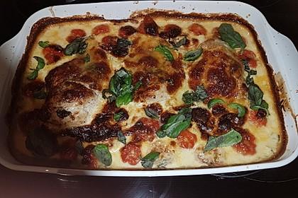 Mozzarella - Hähnchen in Basilikum - Sahnesauce 246