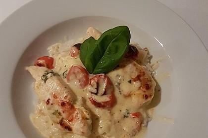 Mozzarella - Hähnchen in Basilikum - Sahnesauce 73