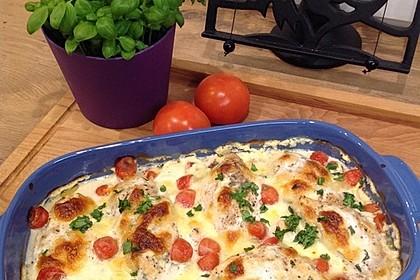 Mozzarella - Hähnchen in Basilikum - Sahnesauce 10