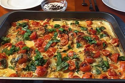 Mozzarella - Hähnchen in Basilikum - Sahnesauce 87