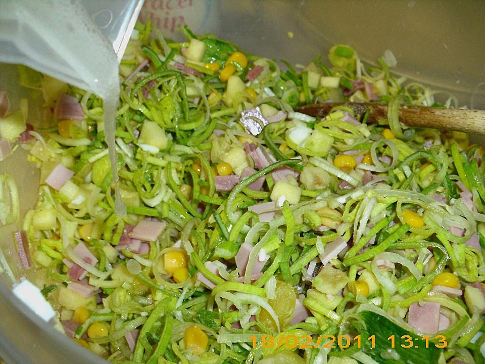 Salat lauch ananas schinken