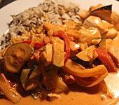 Paprika - Hähnchen - Geschnetzeltes mit Zucchini und Weißwein