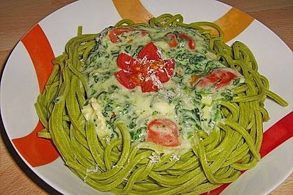 Pasta mit Spinat - Käse - Soße und Cocktailtomaten