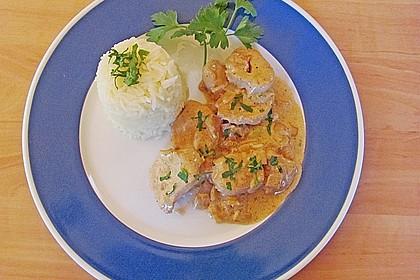 Sahnige Hähnchen - Zwiebel - Pfanne mit Safranreis 1