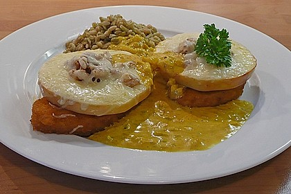 Apfel - Käse - Schnitzel mit leichter Currysauce