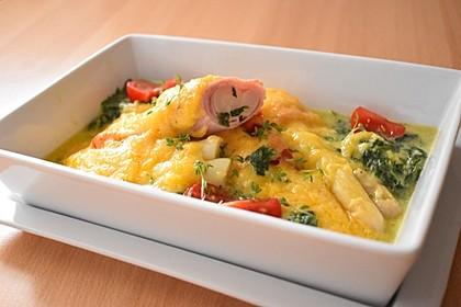 Spargel überbacken, mit Tomate und Spinat 14