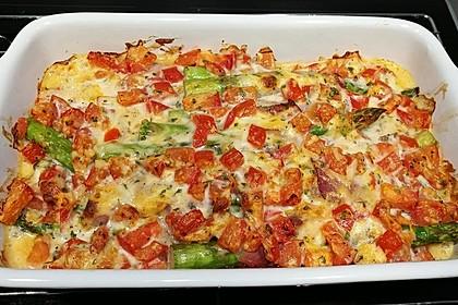 Spargel überbacken, mit Tomate und Spinat 23