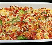 Spargel überbacken, mit Tomate und Spinat