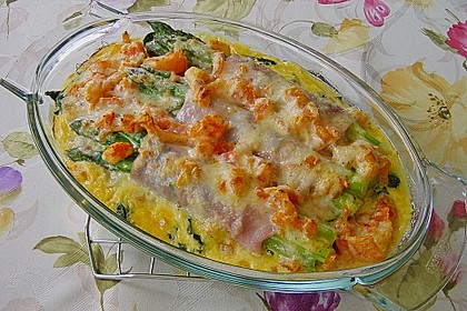 Spargel überbacken, mit Tomate und Spinat 2