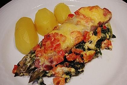 Spargel überbacken, mit Tomate und Spinat 7
