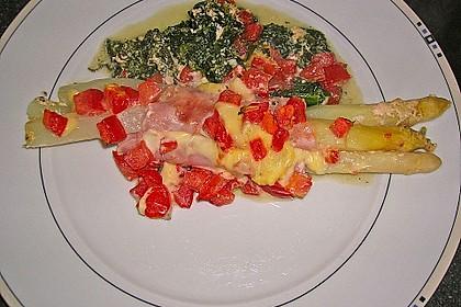 Spargel überbacken, mit Tomate und Spinat 20