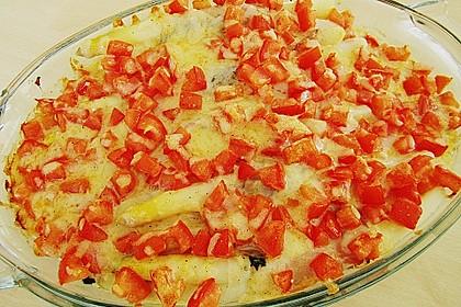 Spargel überbacken, mit Tomate und Spinat 38