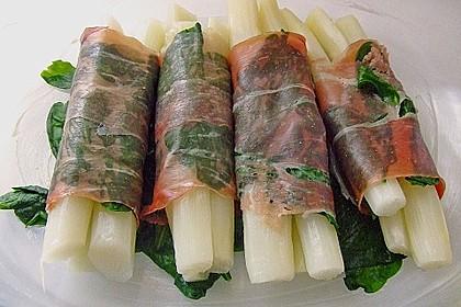 Spargel überbacken, mit Tomate und Spinat 6