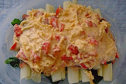 Spargel überbacken, mit Tomate und Spinat 40