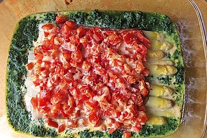 Spargel überbacken, mit Tomate und Spinat 17