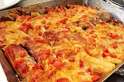 Spargel überbacken, mit Tomate und Spinat 12