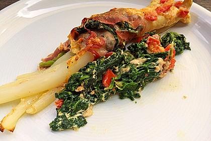 Spargel überbacken, mit Tomate und Spinat 13