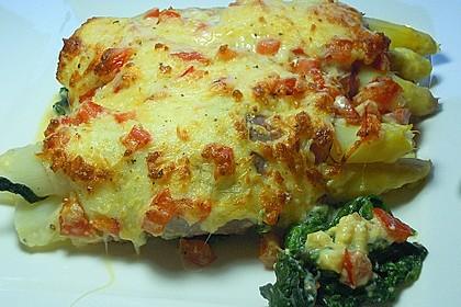 Spargel überbacken, mit Tomate und Spinat 1