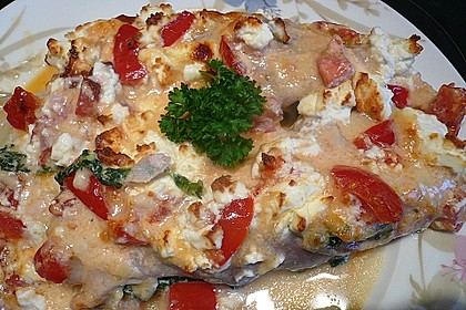 Spargel überbacken, mit Tomate und Spinat 16