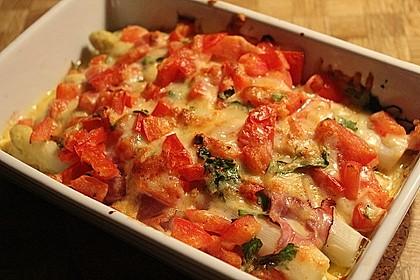 Spargel überbacken, mit Tomate und Spinat 5