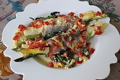Spargel überbacken, mit Tomate und Spinat 4