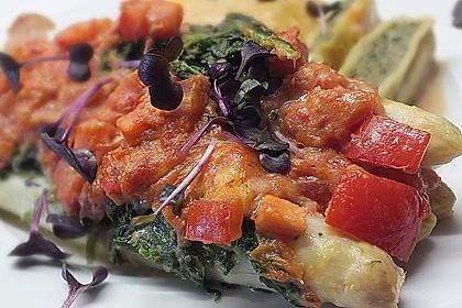 Spargel überbacken, mit Tomate und Spinat 3