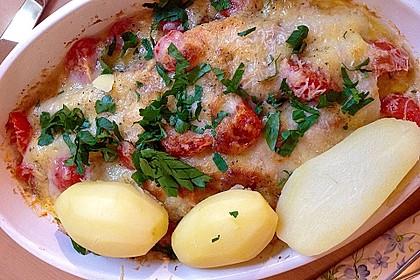 Spargel überbacken, mit Tomate und Spinat 19