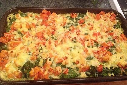 Spargel überbacken, mit Tomate und Spinat 46