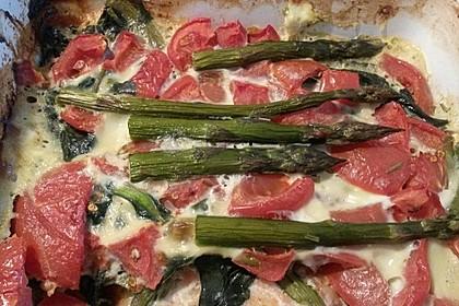 Spargel überbacken, mit Tomate und Spinat 42