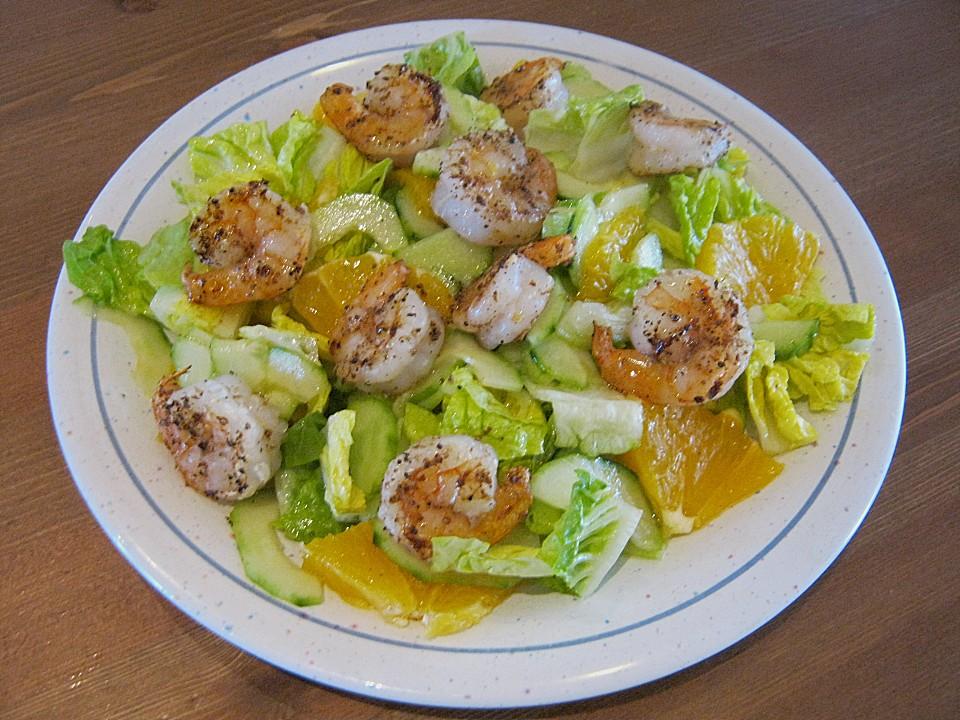 orangen gurken salat mit gebratenen garnelen rezept mit bild. Black Bedroom Furniture Sets. Home Design Ideas