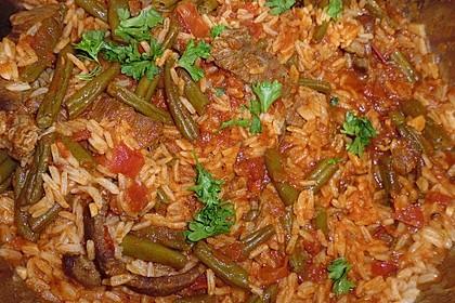 Grüne Bohnen mit Rindfleisch und Tomatensauce 1