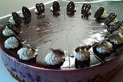 Blaubeer - Frischkäse Torte mit Crunchyboden