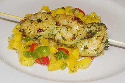 Garnelenspieße auf Mango-Paprika Salat 0
