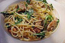 Putenschnitzel in Orangenrahm mit Rucola - Spaghetti