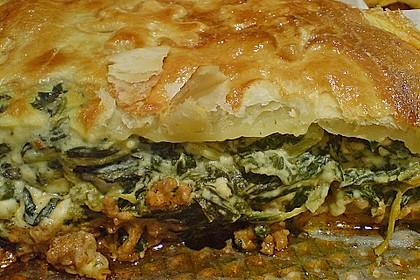 Blätterteigquiche mit Hackfleisch - Schafskäse - Spinat - Feta - Frischkäse - Füllung
