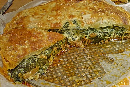 Blätterteigquiche mit Hackfleisch - Schafskäse - Spinat - Feta - Frischkäse - Füllung 1