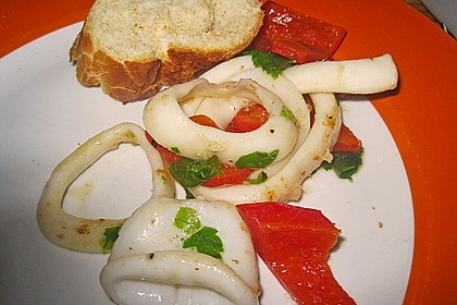 Tintenfischpfanne mit Paprika
