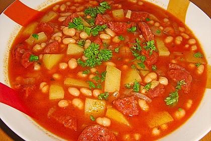Judias con chorizo spanischer bohneneintopf von majornina - Judias con chorizo y patatas ...
